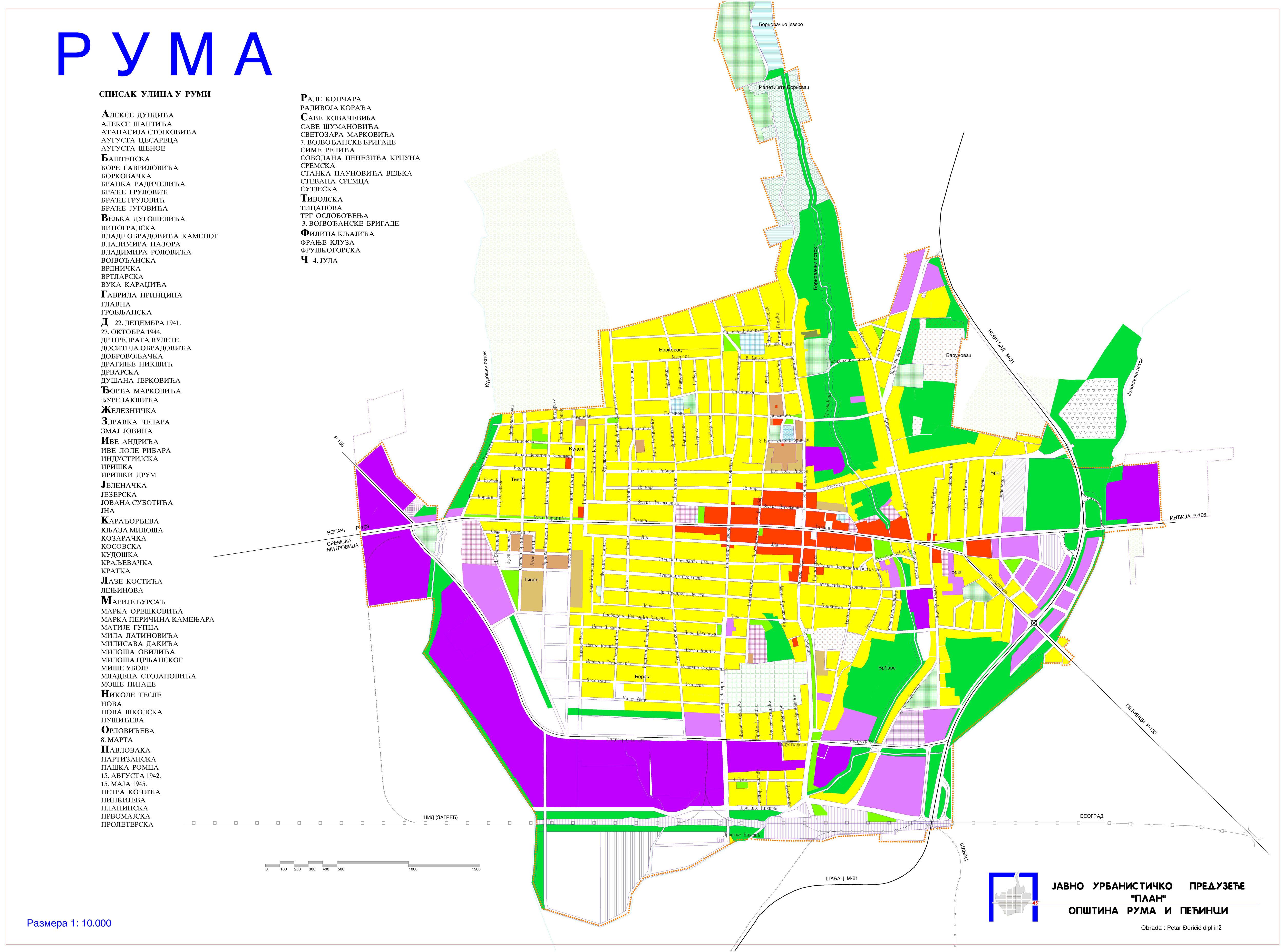 mapa rume Мапа града mapa rume